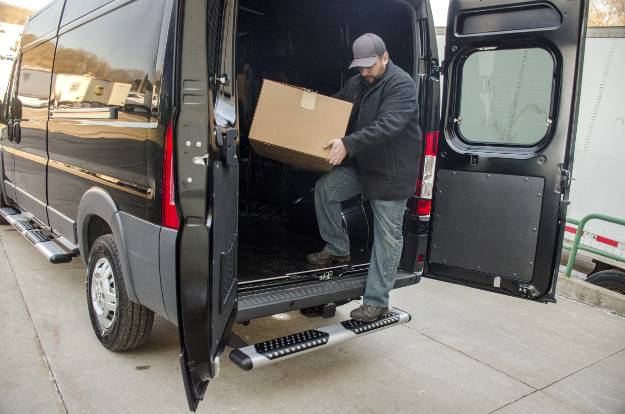 Black Ram ProMaster delivery cargo van with O-Mega II™ rear step