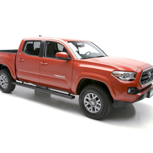 Red Toyota Tacoma with LUVERNE O-Mega II™ truck side steps