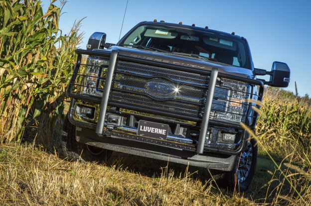 Ford F350 Super Duty with LUVERNE Prowler Max™ black grille guard in corn field