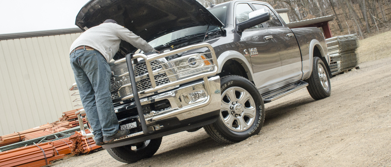 LUVERNE Prowler Max™ grille guard under hood on Ram 3500