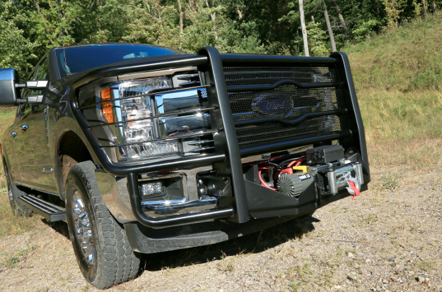 LUVERNE Prowler Max™ grille guard with winch mount on Ford F350