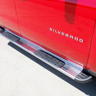 Side Entry Truck Steps on a red Chevrolet Silverado