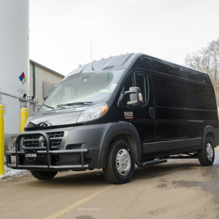 Black 2017 Ram ProMaster 2500 commercial van with LUVERNE Tuff Guard® grille guard