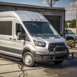 Grey 2017 Ford Transit 350 HD cargo van with LUVERNE Tuff Guard® bumper guard