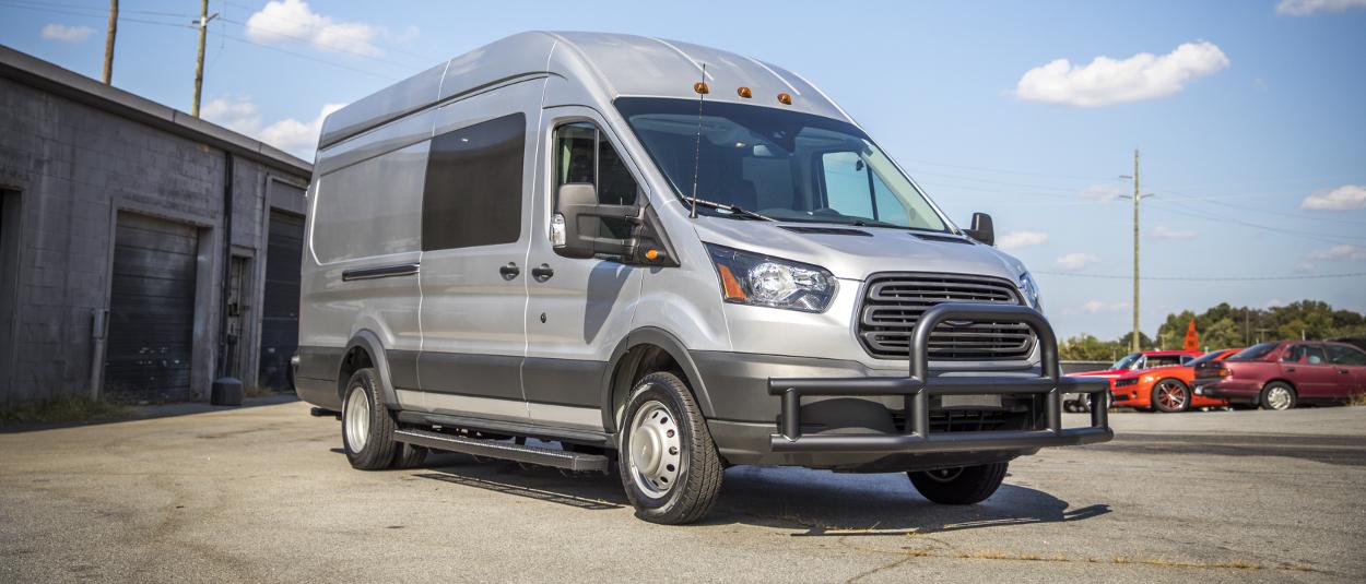 Grey 2017 Ford Transit 350 HD with LUVERNE Tuff Guard® van bumper guard