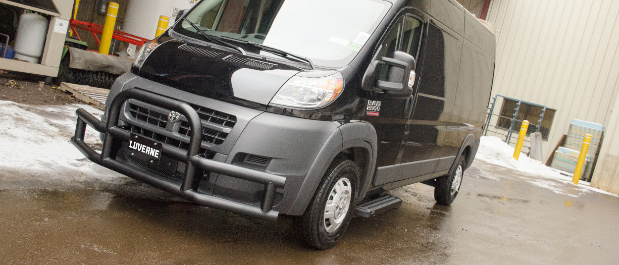 LUVERNE Tuff Guard® grille guard on black 2017 Ram ProMaster 2500