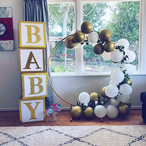 Acrylic 'BABY' Building Blocks and Gold Metal Hoop by Luxe Dream Event Hire