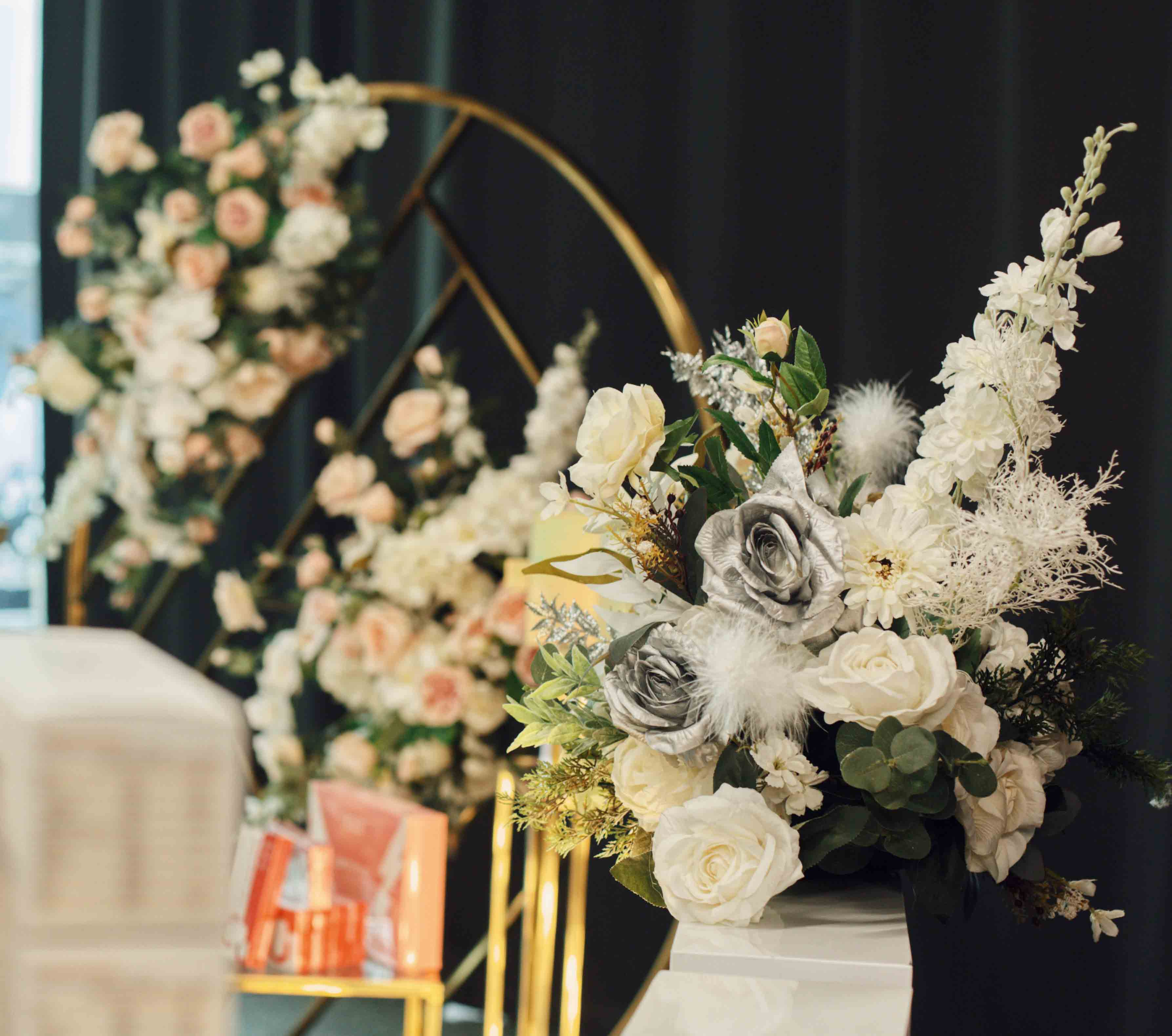 Props by Luxe Dream Event Hire / Table Flowers by Luxe Dream Floral Studio