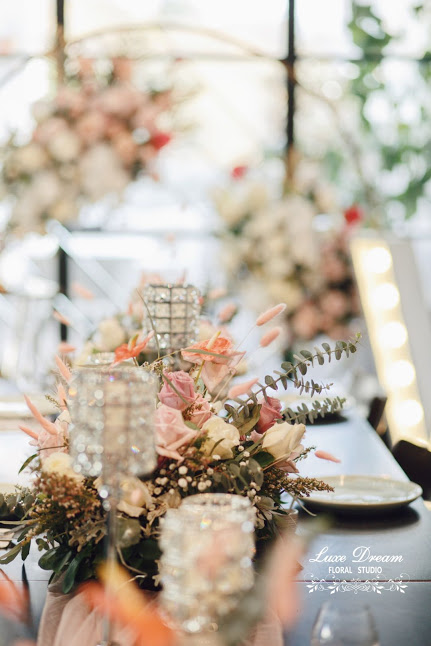 Silver Crystal Candle Holders and pretty floral centrepieces created by Luxe Dream Floral Studio for a Baby Shower lunch or dinner party. Thank you Gerome
