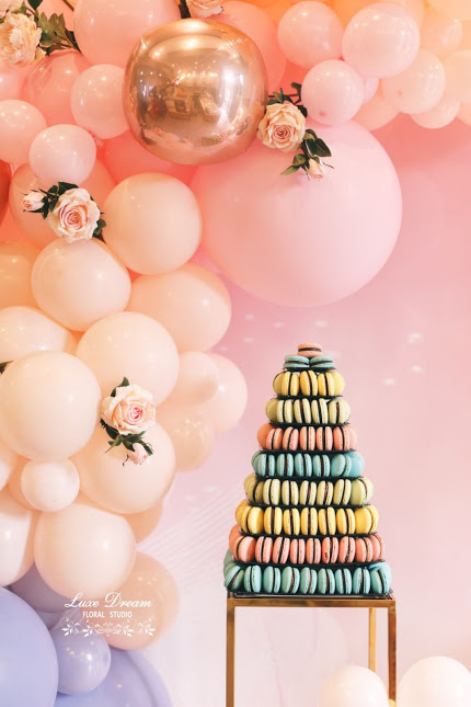 Gold Metal Hollow Based Plinth by Luxe Dream Event Hire displaying colourful macaroons by Cake4U