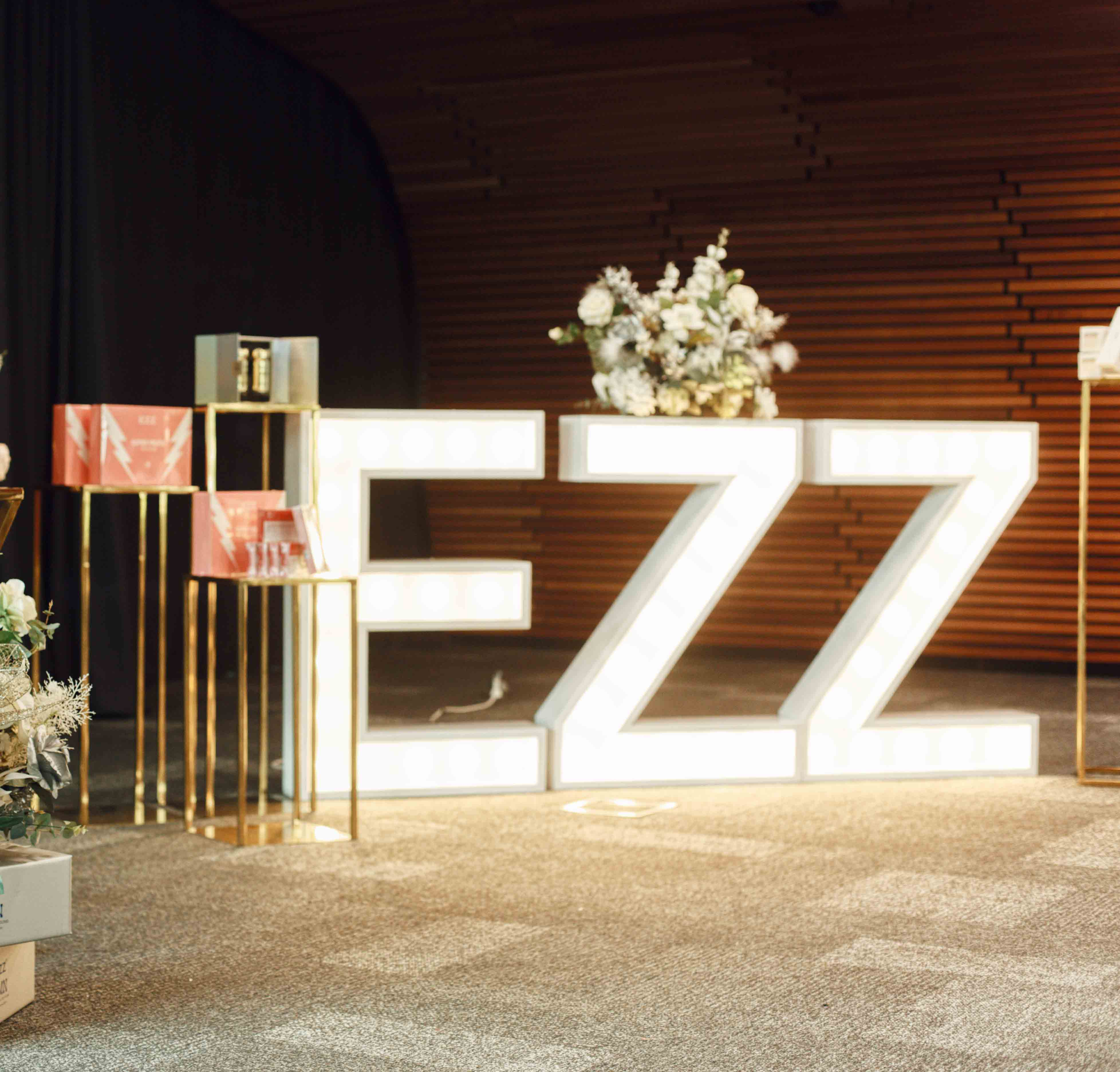 Hollow Gold Plinths and LED Letter Lights by Luxe Dream Event Hire / Flowers by Luxe Dream Floral Studio