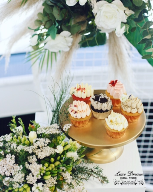 Props (cake stand) and Flower Arrangements by Luxe Dream Event Hire & Luxe Dream Floral Studio. Cakes by Candice Designer Cakes