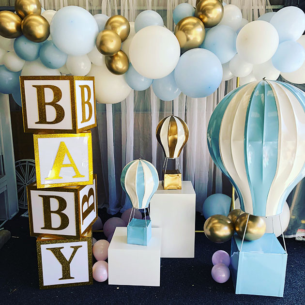 Acrylic 'BABY' Building Blocks, Hot Air Balloons & Plinths by Luxe Dream Event Hire