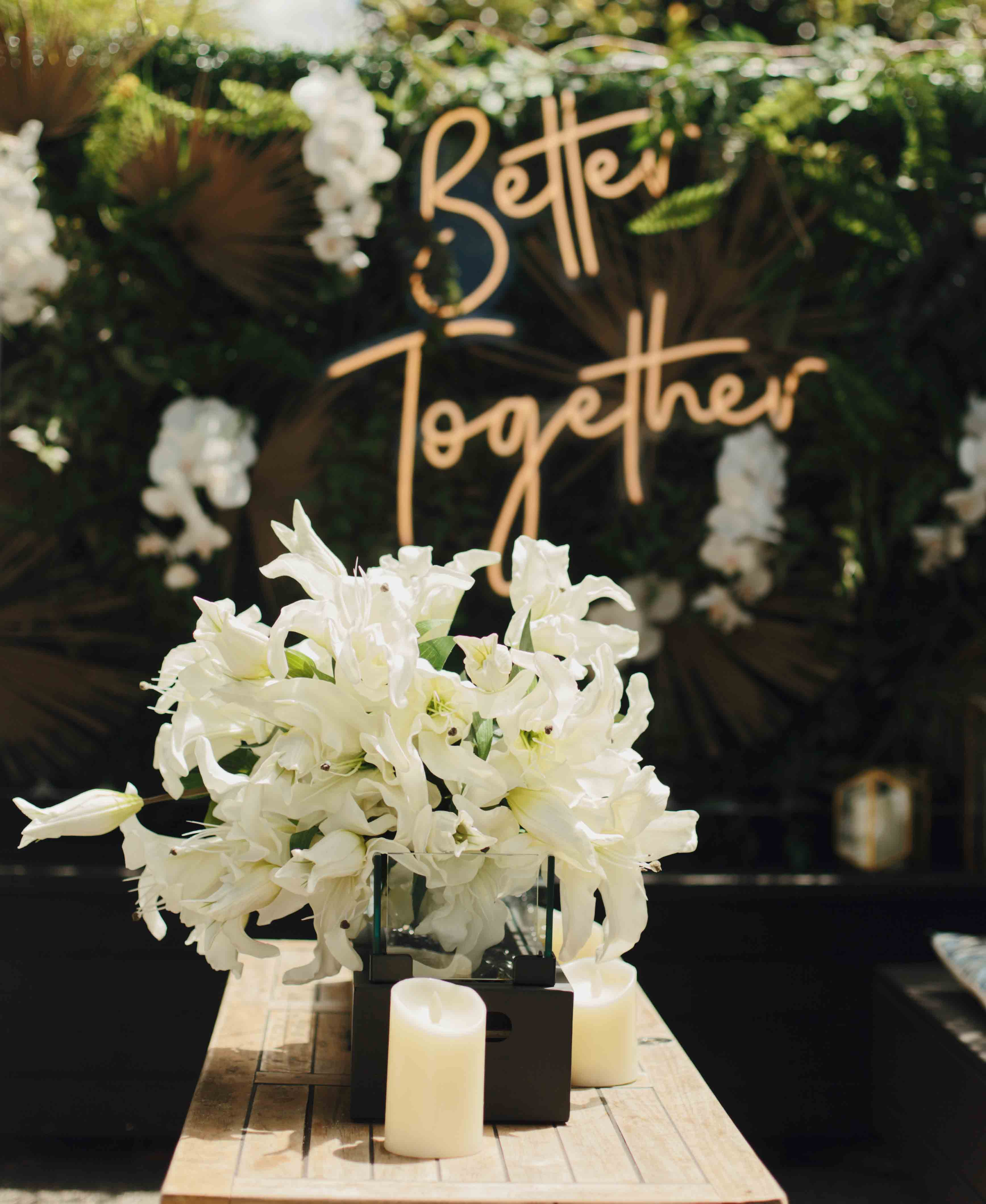 Better Together by Luxe Dream Event Hire / Table Flowers and Greenery Wall by Luxe Dream Floral Studio