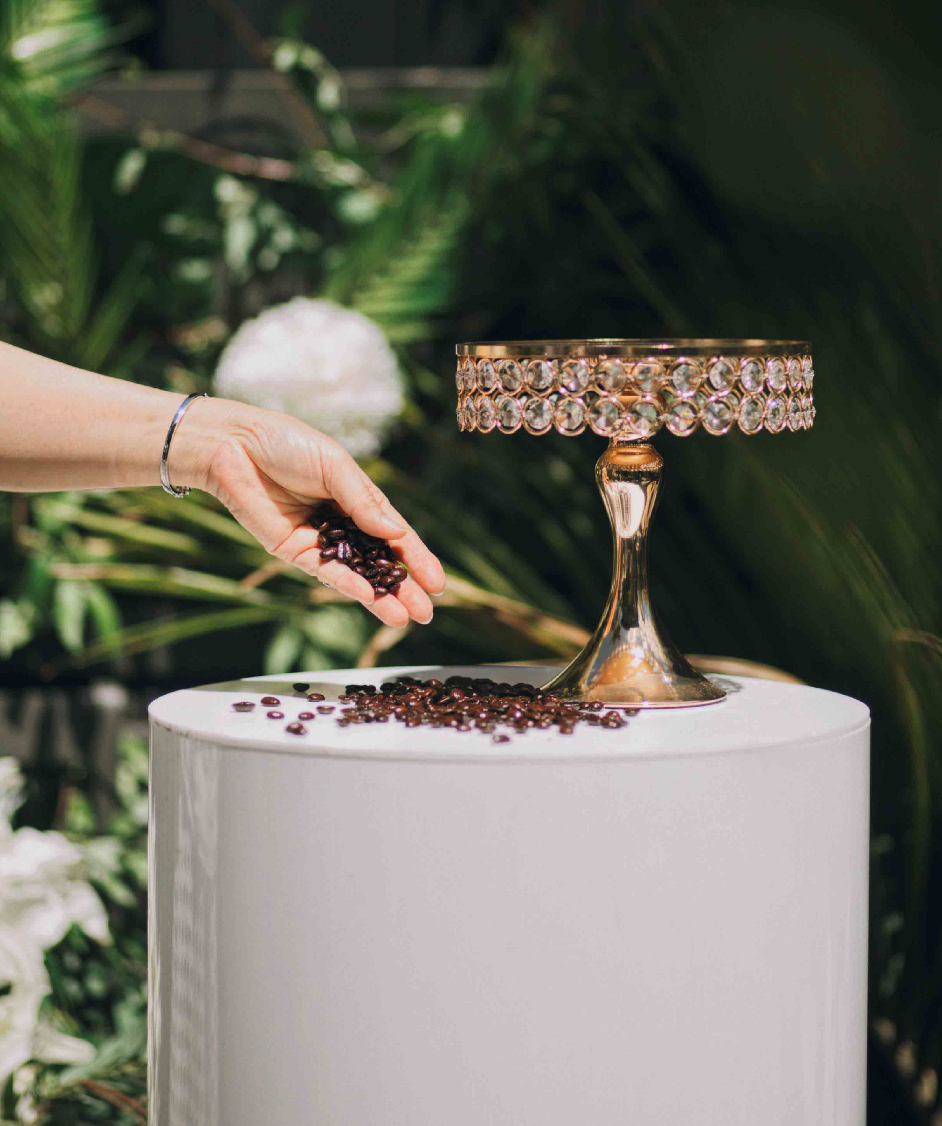 Jeweled Cake Stand and White Plinth by Luxe Dream Event Hire
