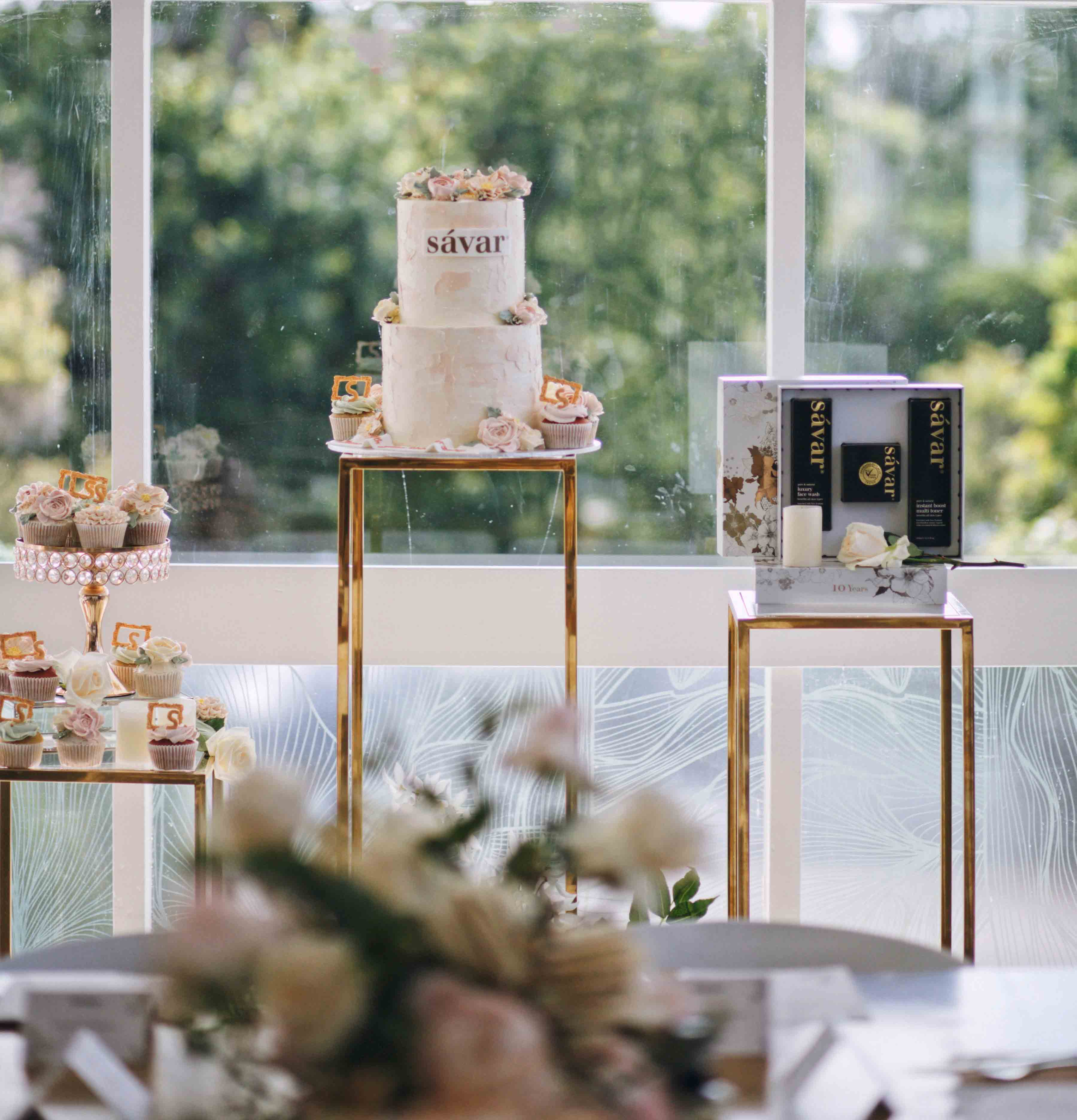 Hollow Gold Plinths by Luxe Dream Event Hire / Table Flowers by Luxe Dream Floral Studio