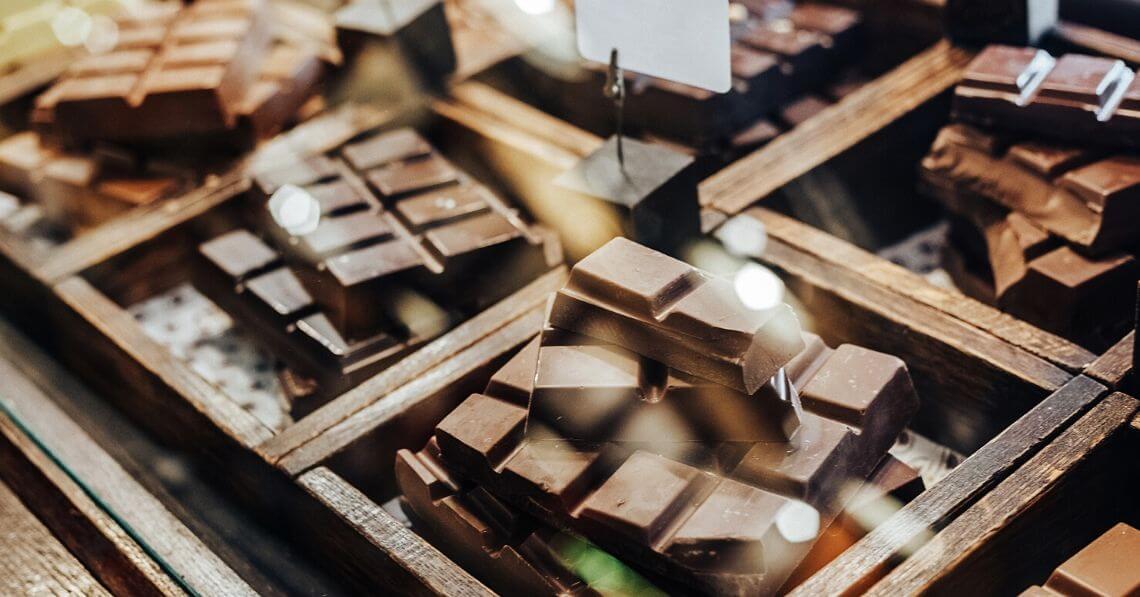 A display of chocolate bars