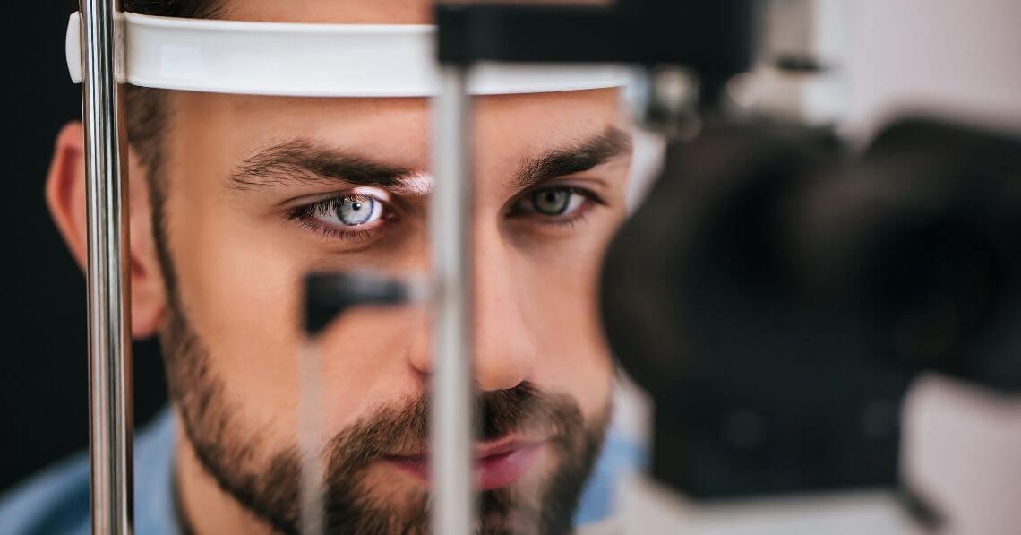 A man receiving an eye examination