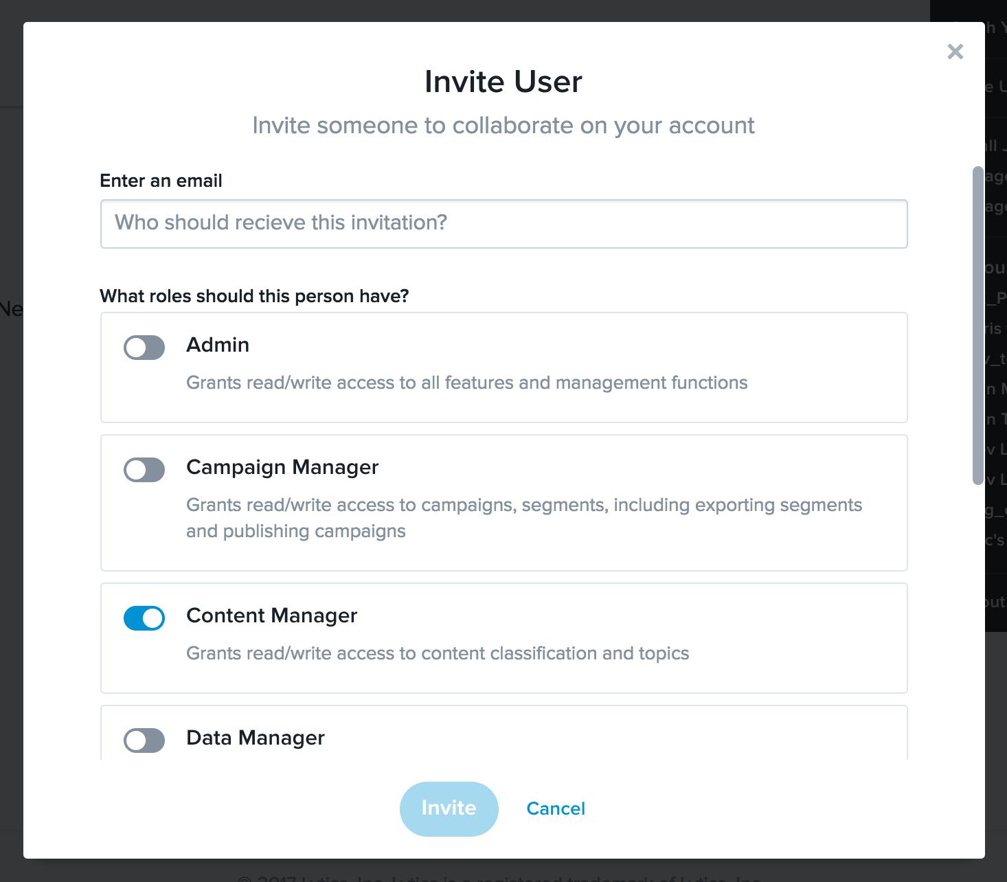 The invite user modal