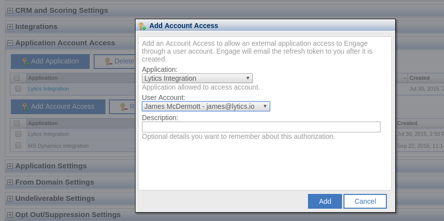 Watson Campaign Automation Add Account Access Popup