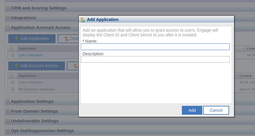 Watson Campaign Automation Add Application Popup