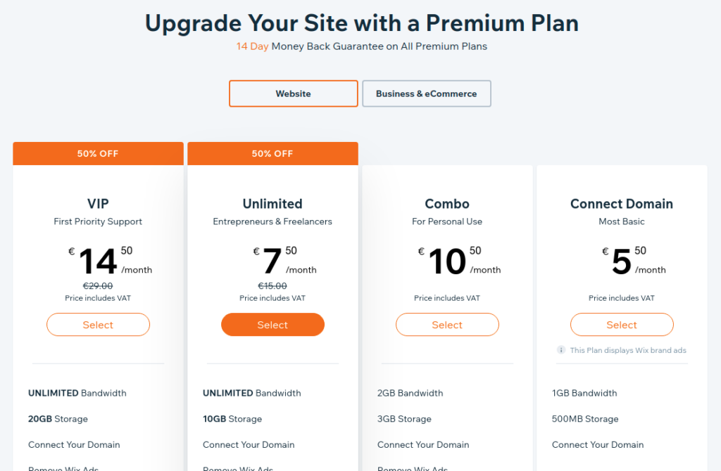 Les prix de Wix.com