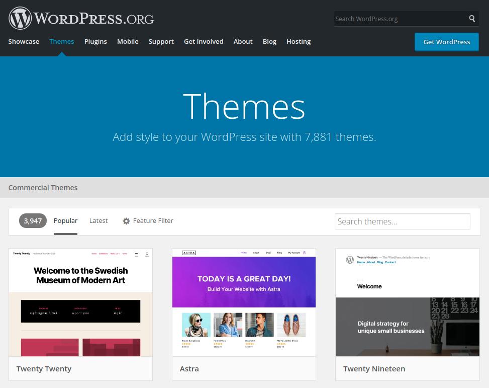 Choix d'un thème sur la plateforme WordPress