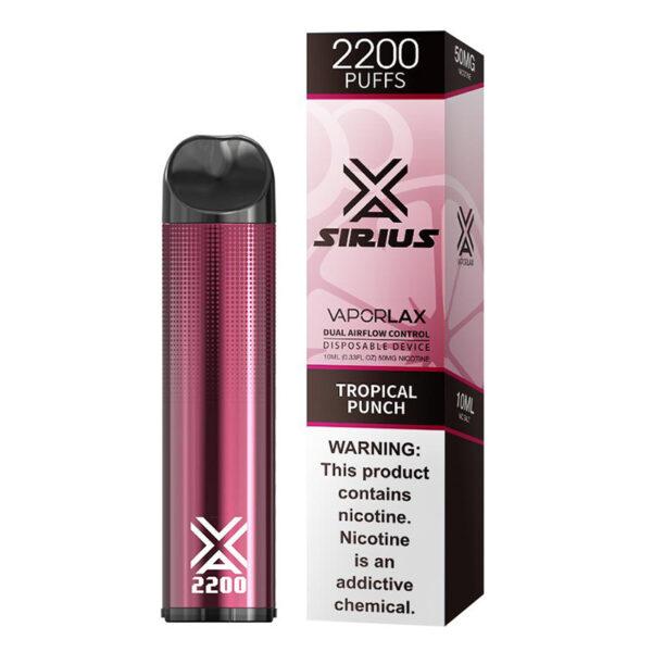 Vaporlax Sirius Disposable Vape - Tropical Punch Box
