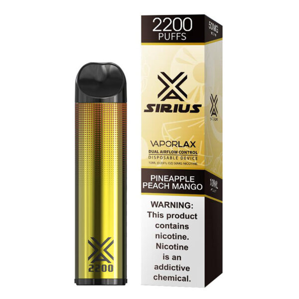 Vaporlax Sirius Disposable Vape - Pineapple Peach Mango Box
