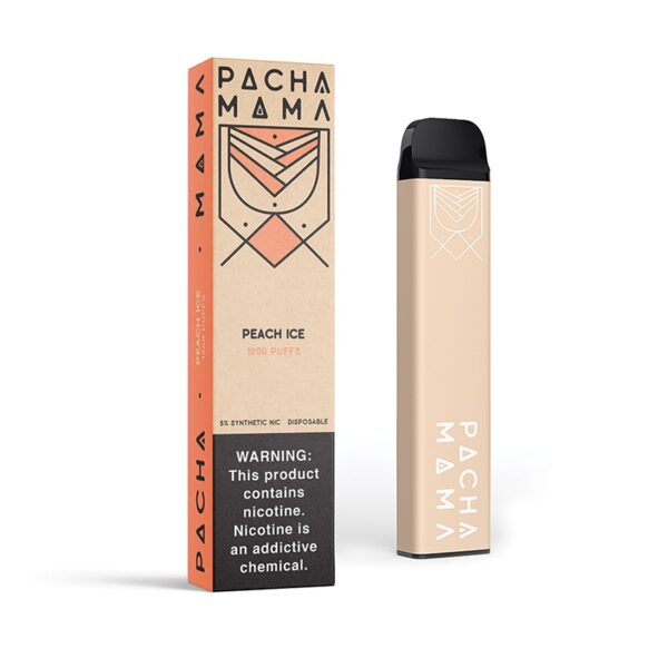 pachamama disposable - peach Ice   Mad Vapes