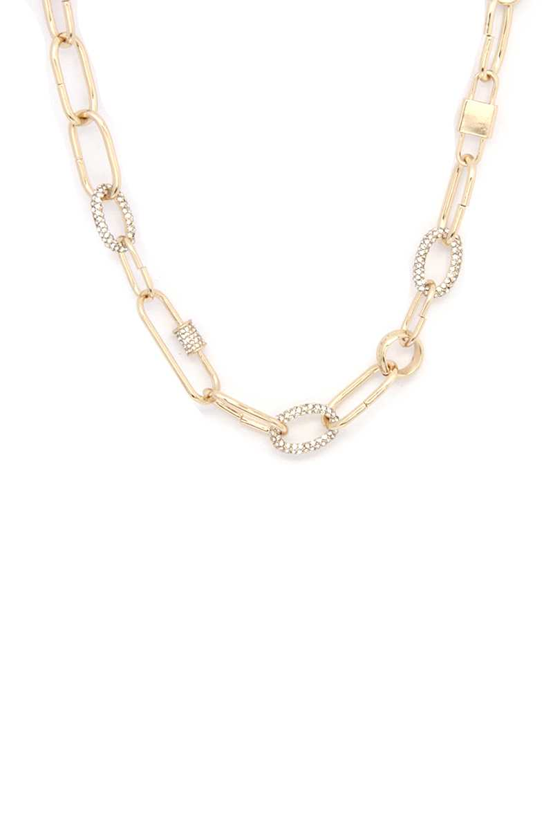 Collier à maillons ovales strass 53554. Vetements Fashions Femme, FRANCE