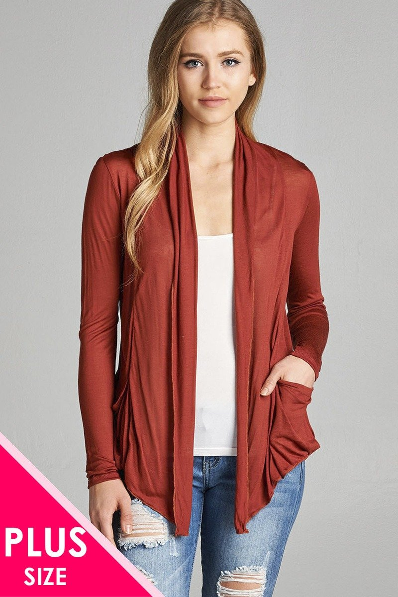 Mode femme grande taille manches longues flyaway  cardigan w  poches latérales 34636q. Vetements Fashions Femme, FRANCE