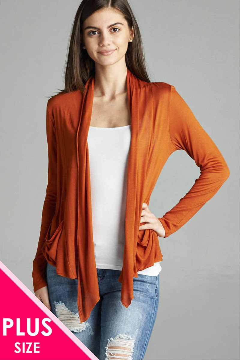 Mode femme grande taille manches longues flyaway  cardigan w  poches latérales 34636r. Vetements Fashions Femme, FRANCE