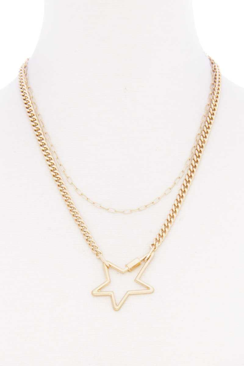 Star pendnat cuban link layered metal collier 52831. Vetements Fashions Femme, FRANCE