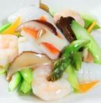 アスパラと海鮮の炒め