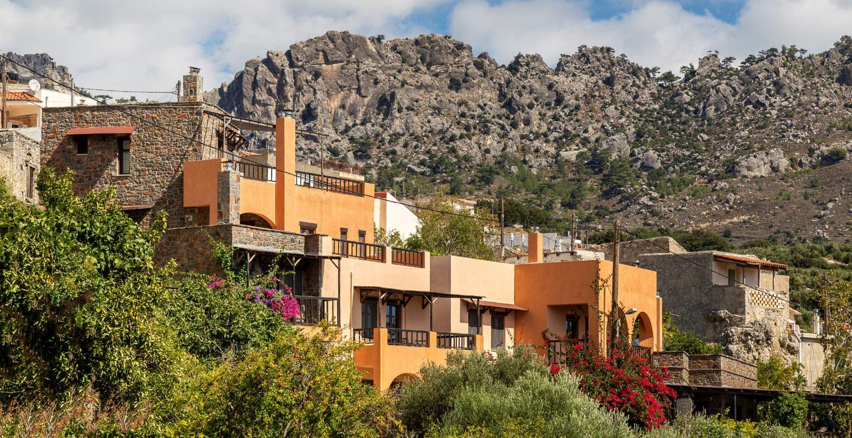 Mala Villa surrounded by plants, with the mountains in the background