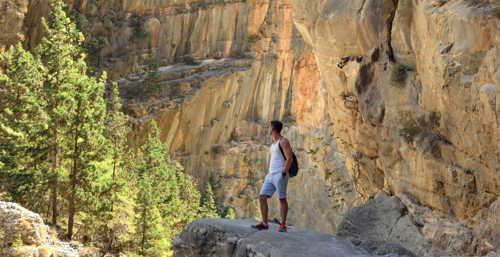 Man going hiking in the beautiful caves and mountains near Mala VIlla