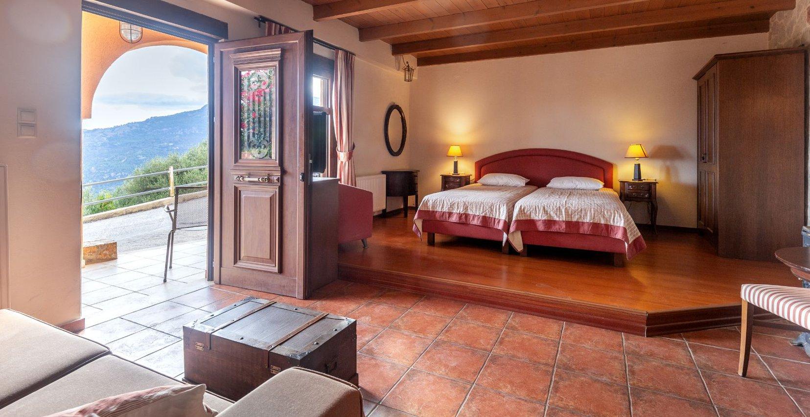 The interior of the Lavender Superior residence of Mala Villa in Crete