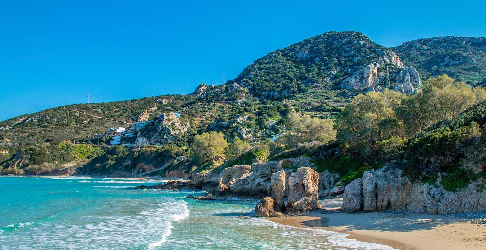 Enchanting beach surrounded by the mountains near Mala Villa