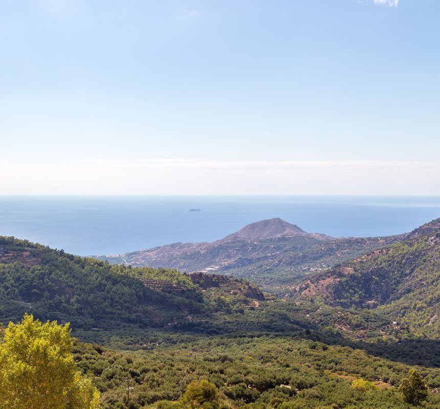 The view of the beautiful Malles Mountains and the sea