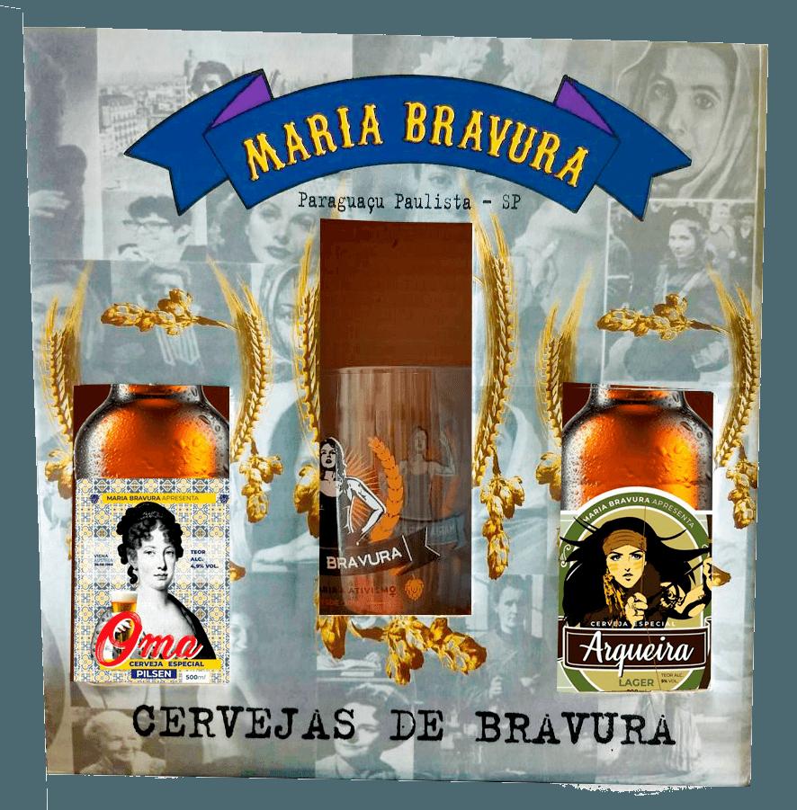 Kit Maria Bravura - Cervejas Oma e Arqueira 500ml + Caneca 340ml