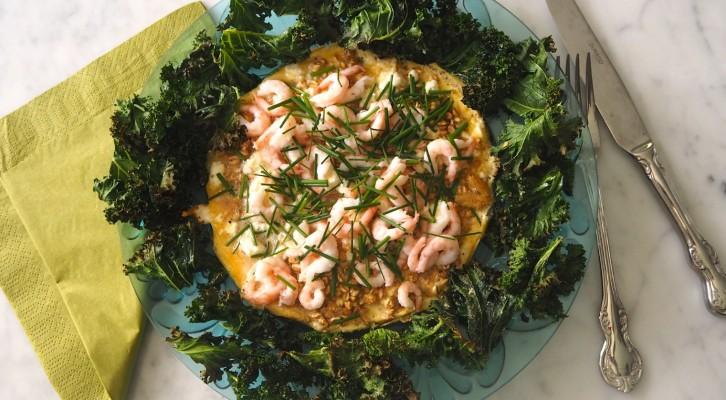 Omelett med matvete och räkor, klar på 7 min!