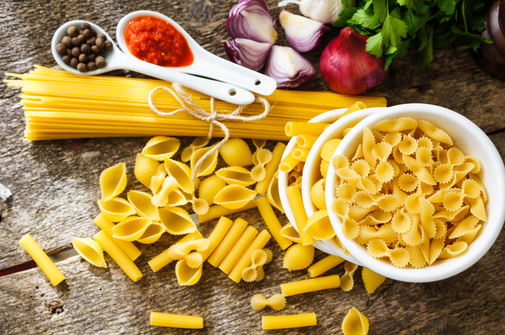olika sorters pasta