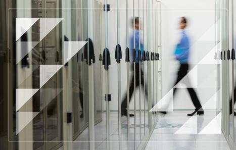 Data center optimization solution man walking through mirrors