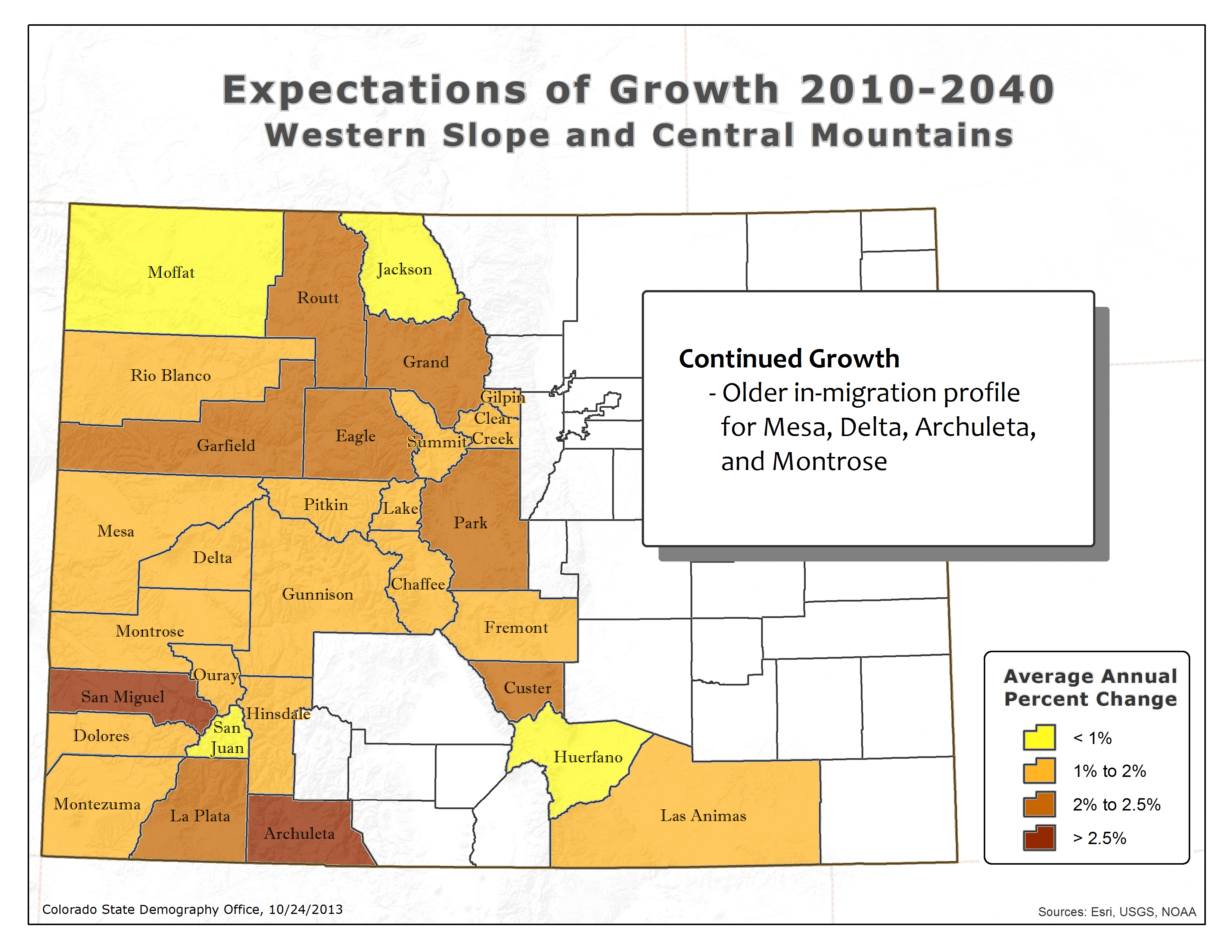 Western Slope Colorado Map State Demography Office
