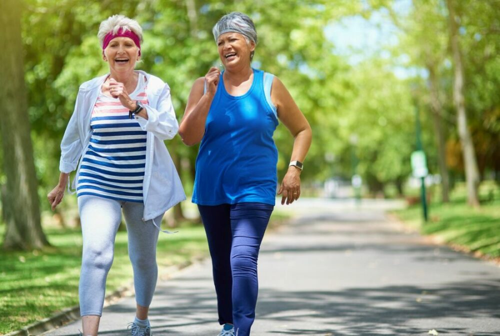 Senior women walking in a park
