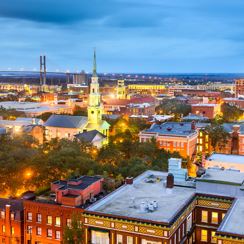 A photo of downtown Savannah