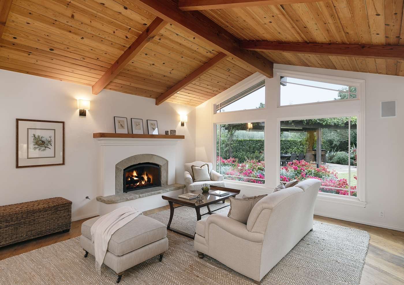 Generous & naturally lit Family room with cozy fireplace