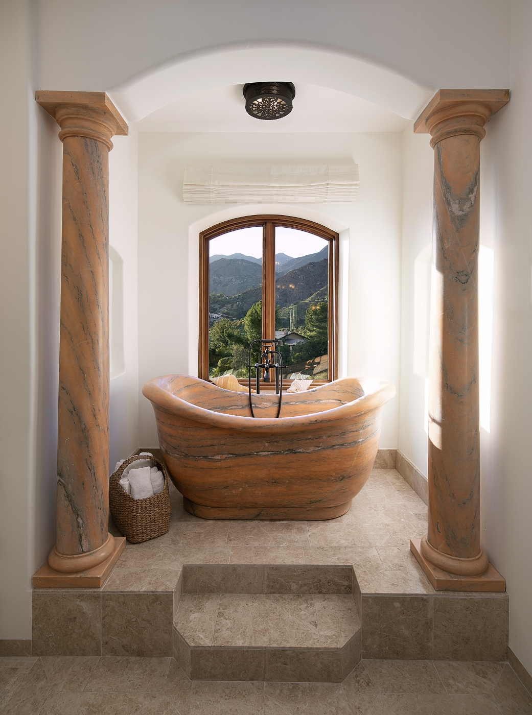 Luxurious Marble Bath with Mountain Views