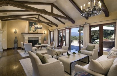 Grand Living Room Opens to Outdoor Entertaining Patio